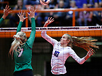 November 22, 2019; Rapid City, SD, USA; Caitlyn Pruis #10 of Sioux Falls Christian attempts a tip over Storm Johnsen #7 of Miller at the 2019 South Dakota State Volleyball Championships at the Rushmore Plaza Civic Center in Rapid City, S.D. (Richard Carlson/Inertia)
