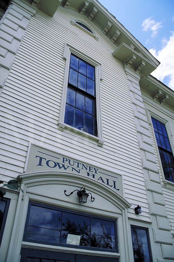 Colonial Town Hall in Putney, New Hampshire. Putney New Hampshire, New England.