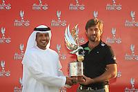 Robert Rock (ENG), HH Sheikh Sultan Bin Tahnoon Al Nahyan Chairpman Abu Dhabi Tourism Authority,   at the Abu Dhabi HSBC Golf Championship, Abu Dhabi GC,Abu Dhabi,United Arab Emirates.Picture Fran Caffrey www.golffile.ie