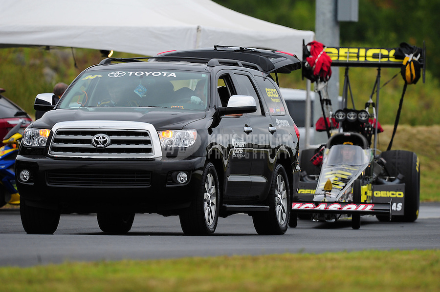 Sept. 17, 2011; Concord, NC, USA: NHRA top fuel dragster driver Morgan Lucas during qualifying for the O'Reilly Auto Parts Nationals at zMax Dragway. Mandatory Credit: Mark J. Rebilas-