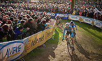 Sven Nys (BEL) leading the race ahead of Zdenek Stybar (CZE) with thick crowds cheering them on<br /> <br /> 2014 UCI cyclo-cross World Championships, Elite Men