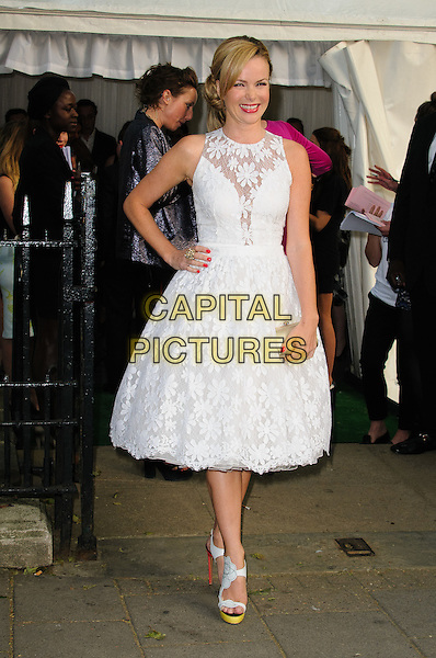 Amanda Holden.Women Of The Year 2012 - Glamour Awards, Berkeley Square, London, England..29th May 2012.full length dress white sleeveless lace hand on hip.CAP/CJ.©Chris Joseph/Capital Pictures.