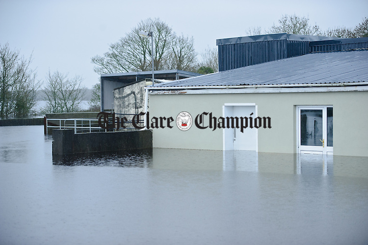 A general view of flooded farmland,yard and abattoir buildings at the Flannery meat plant  in the Peterswell area of South Galway. Photograph by John Kelly.