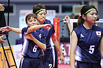 Japan women team group (JPN),<br /> AUGUST 30, 2018 - Sepak takroae : <br /> Women's Quadrant match between Japan - Vietnam<br /> at Jakabaring Sport Center Ranau Hall <br /> during the 2018 Jakarta Palembang Asian Games <br /> in Palembang, Indonesia. <br /> (Photo by Yohei Osada/AFLO SPORT)