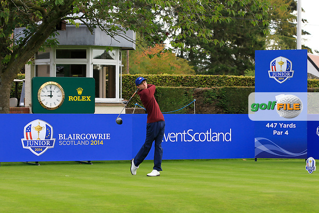 Austin Connelly (USA) on the 1st tee during Day 2 Singles for the Junior Ryder Cup 2014 at Blairgowrie Golf Club on Tuesday 23rd September 2014.<br /> Picture:  Thos Caffrey / www.golffile.ie