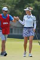 Jessica Korda (USA) fist bumps her caddie after sinking her birdie putt on 4 during round 4 of the 2019 US Women's Open, Charleston Country Club, Charleston, South Carolina,  USA. 6/2/2019.<br /> Picture: Golffile | Ken Murray<br /> <br /> All photo usage must carry mandatory copyright credit (© Golffile | Ken Murray)
