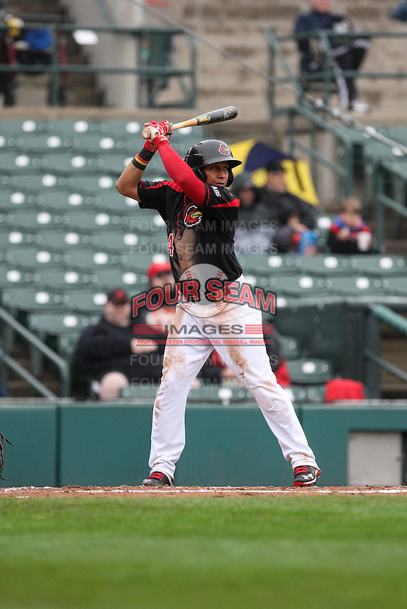 Rochester Red Wings shortstop Wilfredo Tovar (4) waits for the pitch against the Scranton Wilkes-Barre Railriders on May 1, 2016 at Frontier Field in Rochester, New York. Red Wings won 1-0.  (Christopher Cecere/Four Seam Images)