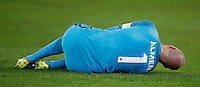 Calcio, Europa League, Gruppo E: Roma vs Austria Vienna. Roma, stadio Olimpico, 20 ottobre 2016.<br /> Austria Wien's goalkeeper Robert Almer lies on the pitch after getting injured during the Europa League Group E soccer match between Roma and Austria Wien, at Rome's Olympic stadium, 20 October 2016. The game ended 3-3.<br /> UPDATE IMAGES PRESS/Isabella Bonotto
