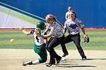 21 MAY 2016:  Tiffany Hollingsworth (4) of Humboldt State University is called out against the University of North Alabama during the Division II Women's Softball Championship held at the Regency Athletic Complex on the Metro State University campus in Denver, CO.  North Alabama defeated Humboldt State 4-1 to win the national title.  Jamie Schwaberow/NCAA Photos