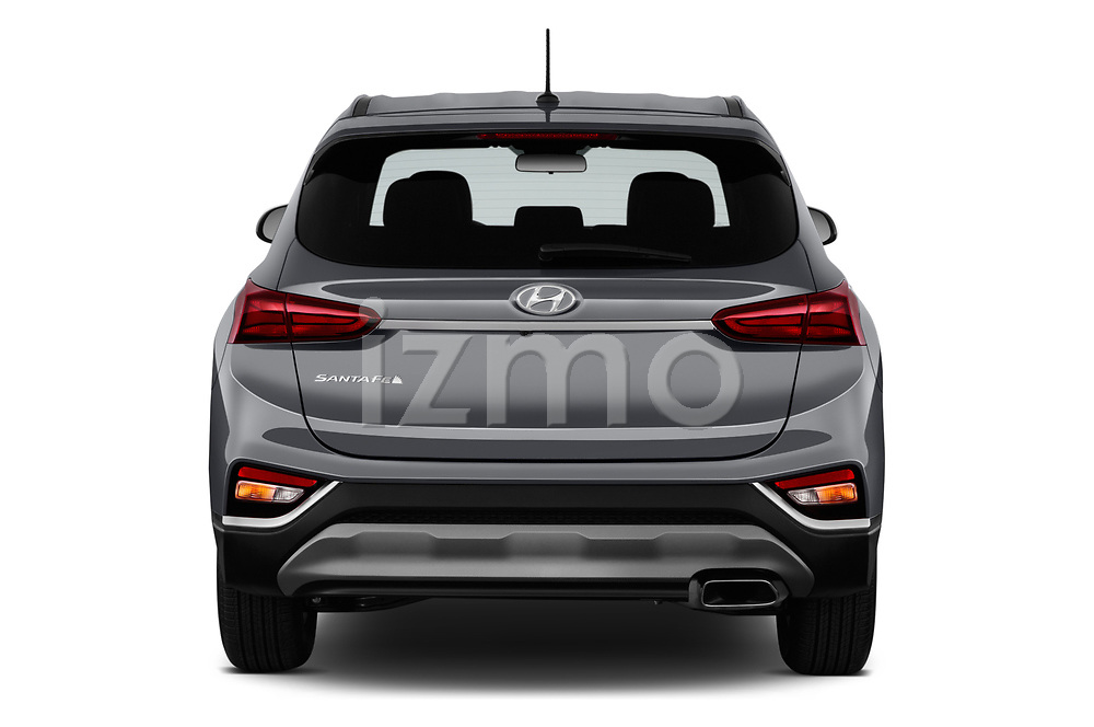 Straight rear view of a 2019 Hyundai Santa FE SE 4 Door SUV stock images