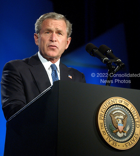 Washington, D.C. - May 19, 2004 -- United States President George W. Bush makes remarks at the 16th Annual Sons of Italy Gala Award Dinner in Washington, D.C. on May 19, 2004.  .Credit: Ron Sachs - Pool via CNP.