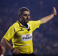 Referee J&eacute;rome Garc&egrave;s<br /> <br /> Photographer Bob Bradford/CameraSport<br /> <br /> European Champions Cup Round 5 - Bath Rugby v Scarlets - Friday 12th January 2018 - The Recreation Ground - Bath<br /> <br /> World Copyright &copy; 2018 CameraSport. All rights reserved. 43 Linden Ave. Countesthorpe. Leicester. England. LE8 5PG - Tel: +44 (0) 116 277 4147 - admin@camerasport.com - www.camerasport.com