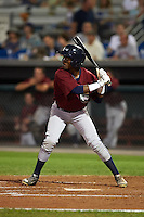 Mahoning Valley Scrappers outfielder Gabriel Mejia (7) at bat during a game against the Auburn Doubledays on September 4, 2015 at Falcon Park in Auburn, New York.  Auburn defeated Mahoning Valley 5-1.  (Mike Janes/Four Seam Images)