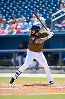 Biloxi Shuckers first baseman Nick Ramirez (33) at bat during a game against the Jacksonville Jumbo Shrimp on May 6, 2018 at MGM Park in Biloxi, Mississippi.  Biloxi defeated Jacksonville 6-5.  (Mike Janes/Four Seam Images)