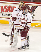 Ryan Edquist (BC - 35), Austin Cangelosi (BC - 9) - The visiting Merrimack College Warriors defeated the Boston College Eagles 6 - 3 (EN) on Friday, February 10, 2017, at Kelley Rink in Conte Forum in Chestnut Hill, Massachusetts.