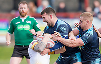 Picture by Allan McKenzie/SWpix.com - 25/03/2018 - Rugby League - Betfred Championship - Batley Bulldogs v Featherstone Rovers - Heritage Road, Batley, England - Featherstone's Sam Brooks and Keal Carlile handle a Batley Bulldog.