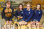 Students from the Tralee Presentation Secondary school attend and participate in the Woodworking class in CBS Secondary school on Thursday. <br /> L-r, Joe Lenihan (CBS), Blaithin McKenna, Emily and Sofie O&rsquo;Donoghue from Presentation Secondary school.