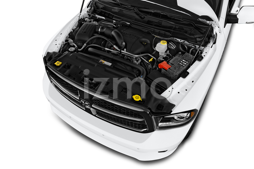 Car stock 2017 Ram 1500 Night Crew 4 Door Pick Up engine high angle detail view