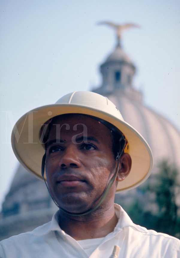 James Meredith March through Mississippi, June 1966. James Meredith delivering speech to crowd in front of Mississippi State Capitol at conclusion of march..