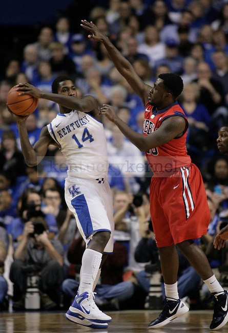 Nick Williams guards Michael Kidd-Gilchrist during the first half of the game against the University of Mississippi Rebels, in  Rupp Arena, on Saturday, Feb. 18, 2012. Photo by Latara Appleby | Staff ..