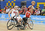 November 19 2011 - Guadalajara, Mexico:  Cindy Ouellet of Team Canada catches a pass in front of Natalie Schneider of Team USA in the Gold Medal Game in the CODE Alcalde Sports Complex at the 2011 Parapan American Games in Guadalajara, Mexico.  Photos: Matthew Murnaghan/Canadian Paralympic Committee