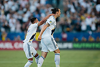 CARSON, CA - JULY 19: Zlatan Ibrahimovic #9 of the Los Angeles Galaxy celebrates his goal during a game between Los Angeles FC and Los Angeles Galaxy at Dignity Health Sports Park on July 19, 2019 in Carson, California.