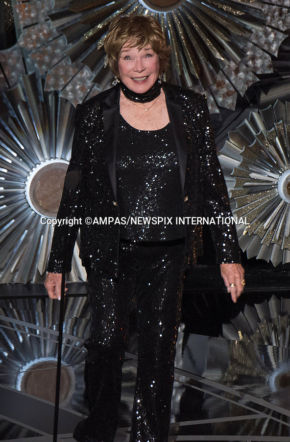 22.02.2015; Hollywood, California: 87TH OSCARS - SHIRLEY MACLAINE<br /> during the Annual Academy Awards Live Telecast, Dolby Theatre, Hollywood.<br /> Mandatory Photo Credit: NEWSPIX INTERNATIONAL<br /> <br />               **ALL FEES PAYABLE TO: &quot;NEWSPIX INTERNATIONAL&quot;**<br /> <br /> PHOTO CREDIT MANDATORY!!: NEWSPIX INTERNATIONAL(Failure to credit will incur a surcharge of 100% of reproduction fees)<br /> <br /> IMMEDIATE CONFIRMATION OF USAGE REQUIRED:<br /> Newspix International, 31 Chinnery Hill, Bishop's Stortford, ENGLAND CM23 3PS<br /> Tel:+441279 324672  ; Fax: +441279656877<br /> Mobile:  0777568 1153<br /> e-mail: info@newspixinternational.co.uk