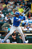 Toronto Blue Jays center fielder Roemon Fields (67) at bat during a Spring Training game against the Pittsburgh Pirates on March 3, 2016 at McKechnie Field in Bradenton, Florida.  Toronto defeated Pittsburgh 10-8.  (Mike Janes/Four Seam Images)