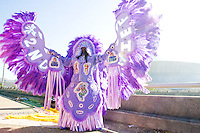 "Irvin Scott, ""2nd Chief"" of the Golden Comanches Mardi Gras Indians poses on the interstate in front of the Superdome in New Orleans on February 28, 2006."