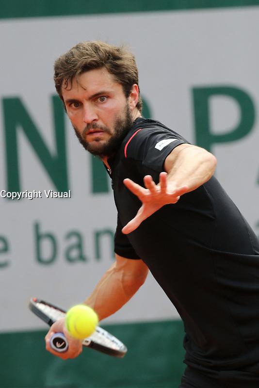 Gilles Simon (Fra. ) playing at Roland Garros tennis open 2016.
