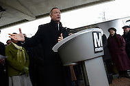 Greenbelt, MD - January 6, 2014: Maryland Governor Martin O'Malley speaks during a press conference at the Greenbelt metro station. The governor and other officials announced the arrival of Metro's new 7000-series rail cars.   (Photo by Don Baxter/Media Images International)