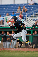 West Virginia Black Bears designated hitter Luke Mangieri (39) follows through on a swing during a game against the Batavia Muckdogs on June 19, 2018 at Dwyer Stadium in Batavia, New York.  West Virginia defeated Batavia 7-6.  (Mike Janes/Four Seam Images)