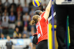 Rüsselsheim, Germany, April 13: Linda Helterhoff #8 and Dominique Lamb #2 of the Rote Raben Vilsbiburg try to block a shot during play off Game 1 in the best of three series in the semifinal of the DVL (Deutsche Volleyball-Bundesliga Damen) season 2013/2014 between the VC Wiesbaden and the Rote Raben Vilsbiburg on April 13, 2014 at Grosssporthalle in Rüsselsheim, Germany. Final score 0:3 (Photo by Dirk Markgraf / www.265-images.com) *** Local caption ***