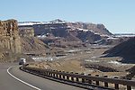 Utah, geologic formations, north of I-70, San Rafael Swell, snow covered butte, red rock, March, USA,