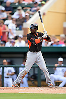 Miami Marlins infielder Dee Gordon (9) during a Spring Training game against the Detroit Tigers on March 25, 2015 at Joker Marchant Stadium in Lakeland, Florida.  Detroit defeated Miami 8-4.  (Mike Janes/Four Seam Images)