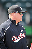 Photo of the South Carolina Gamecocks prior to the Reedy River Rivalry game against the Clemson Tigers on Saturday, February 28, 2015, at Fluor Field at the West End in Greenville, South Carolina. South Carolina won, 4-1. (Tom Priddy/Four Seam Images)
