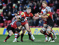 Watford, England. in action during the Aviva Premiership match between Saracens and at Gloucester Rugby at Vicarage Road on December 2, 2012 in Watford, England.