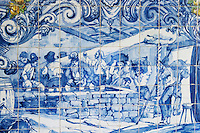 azulejos crushing grapes in lagares ferreira port lodge vila nova de gaia porto portugal