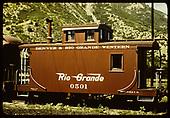 Caboose #0501 - D&amp;RGW - Durango.<br /> D&amp;RGW  Durango, CO