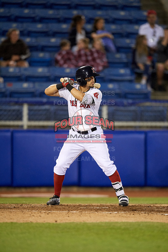 Salem Red Sox center fielder Chris Madera (3) at bat during a game against the Lynchburg Hillcats on May 10, 2018 at Haley Toyota Field in Salem, Virginia.  Lynchburg defeated Salem 11-5.  (Mike Janes/Four Seam Images)