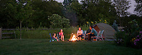 Family campfire in the backyard, New Jersey