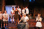 "Curtain Call - Tramaine Montell Ford ""Hermes"" - Colleen Zenk ""Anticleia"" - Dan Sheridan ""Zeus"" - Christian Leadley ""Prince Odysseus"" - Eddie Korbich ""Poseidon"" - Emma Zaks ""Athena"" - Janine DiVita ""Penelope"" - Josh A. Davis ""Odyssues"" - Opening Night of Odyssey - The Epic Musical starring Colleen Zenk, Edddie Korbich, Josh A. Davis, Emma Zaks and Janine DiVita and cast on October 23, 2011 at the American Theatre of Actors, New York City, New York. (Photo by Sue Coflin/Max Photos)"