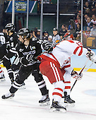 Ross Mauermann (PC - 14), Nikolas Olsson (BU - 13) - The Providence College Friars defeated the Boston University Terriers 4-3 to win the national championship in the Frozen Four final at TD Garden on Saturday, April 11, 2015, in Boston, Massachusetts.