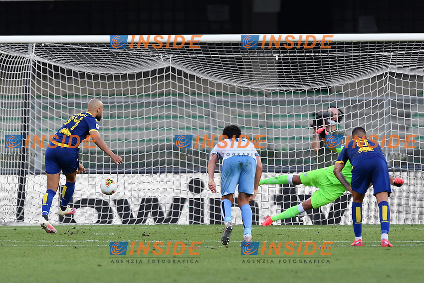 Sofyan Amrabat of Hellas Verona scores a goal during the Serie A football match between Hellas Verona and SS Lazio at stadio Marcantonio Bentegodi in Verona (Italy), July 26th, 2020. Play resumes behind closed doors following the outbreak of the coronavirus disease. <br /> Photo Daniele Buffa / Image Sport / Insidefoto