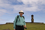 Chile, Easter Island: Travel Journalist Lee Foster at Ahu Tahai..Photo #: ch356-33620.Photo copyright Lee Foster www.fostertravel.com lee@fostertravel.com 510-549-2202