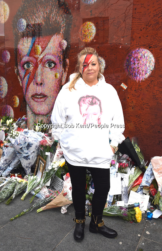 First Anniversary of David Bowie's Death, Mural in Brixton, London, UK on January 10th 2017<br /> <br /> Photo by Bob Kent