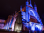 Night view of the entrance to Winchester Cathedral in Hampshire in England UK