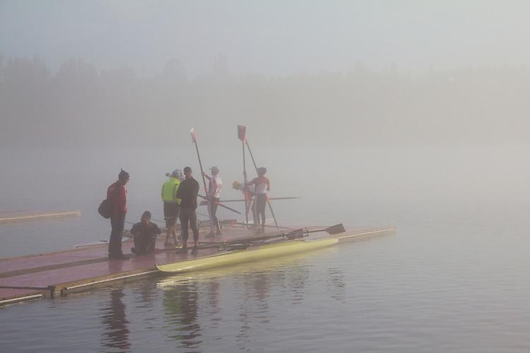 Rowing, Fog, Rowers, United States National Rowing Team, Men's Quad, Norweigian men's double, Launching racing shells; 2010 FISA World Rowing Championships; Lake Karapiro; Hamilton; New Zealand; November 4, 2010;