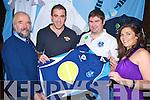 Tom Curtayne, Jody Riordan, Colm Conwaya nd Breda O'Sullivan pictured at the launch of Killorglin Rugby Club's new gear in the Soda Club, Killorglin, on Saturday night.