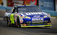 Aug. 8, 2009; Watkins Glen, NY, USA; NASCAR Sprint Cup Series driver Jimmie Johnson during practice for the Heluva Good at the Glen. Mandatory Credit: Matt Kartozian-